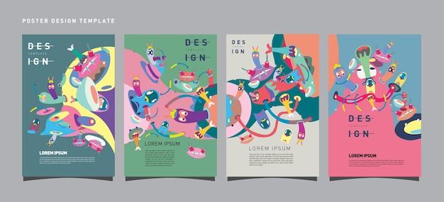 Insieme variopinto di vettore del modello di progettazione del manifesto per i giocattoli ed il festival di hobby