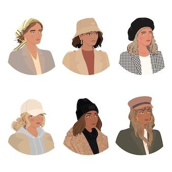 Insieme variopinto di vettore con l'illustrazione di diverse ragazze indossano cappelli acconciatura da ragazza di moda