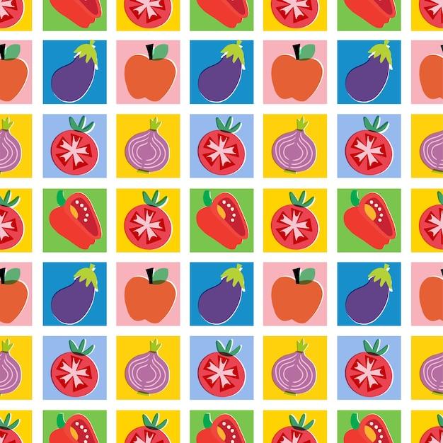 Illustrazione vettoriale di frutta e verdura colorata senza cuciture motivo ripetuto decorazioni per la casa stampa cucina
