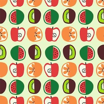Illustrazione vettoriale di frutta e verdura colorata senza cuciture motivo ripetuto home decor print