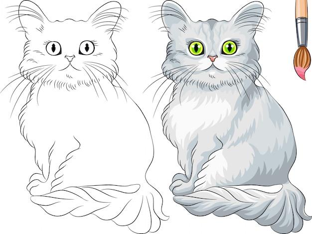 Libro da colorare di vettore del gatto di tiffany