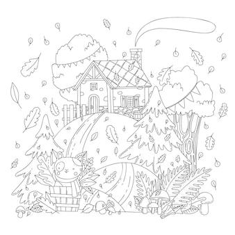 Illustrazione da colorare di vettore con paesaggio autunnale, casa rurale, foresta, funghi, foglie