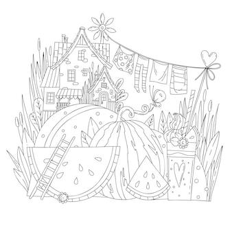Illustrazione da colorare di vettore con paesaggio estivo, anguria, bevanda all'anguria, casa estiva.
