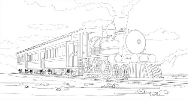 Pagina da colorare di vettore con treno modello 3d e paesaggio luminoso. bella illustrazione vettoriale con viaggi in treno. vettore grafico del treno retrò vintage.
