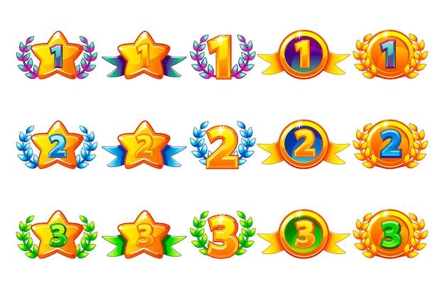 Set di icone di ricompense colorate di vettore.