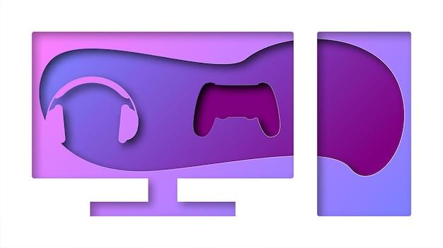 Computer di vettore nello stile di arte di carta. arte digitale