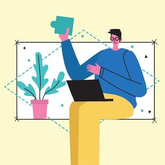 Sfondi di illustrazione vettoriale concetto di start up e grande idea in stile piatto