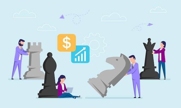 Illustrazione di concetto di vettore nello stile piano degli uomini d'affari che muovono i grandi pezzi degli scacchi. strategia di lavoro, nozione di piano aziendale.