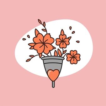 Illustrazione di concetto di vettore coppetta mestruale con i fiori. protezione zero rifiuti per la donna nei giorni critici. ciclo mestruale.