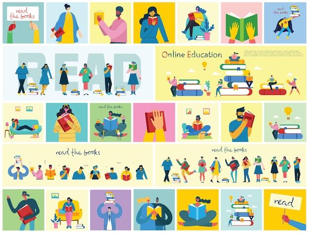 Illustrazioni di concetto vettoriale della giornata mondiale del libro leggendo i libri e il festival del libro in stile piatto...