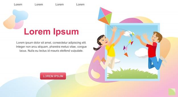 Immagine di concetto di vettore che gioca i bambini felici