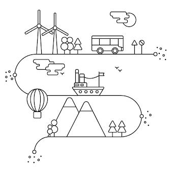 Concetto vettoriale ed elementi di design infografico in stile lineare, generatori di energia alternativa, conservazione e protezione della natura con tecnologie moderne