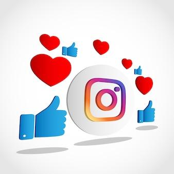 Concetto di vettore dell'icona di instagram con sfondo mi piace.