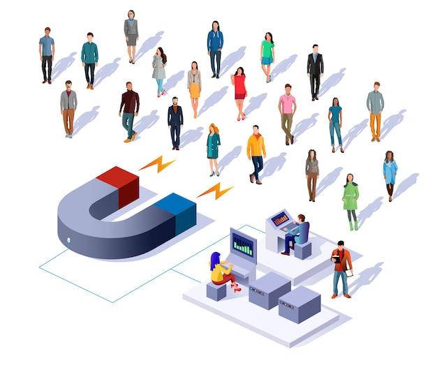 Illustrazione isometrica di concetto di vettore di attirare i clienti.