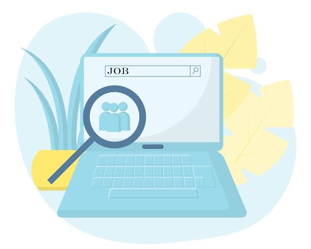 Concetto vettoriale di ricerca di lavoro nel laptop ricerca di lavoro applicazione di ricerca di lavoro Vettore Premium