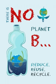Illustrazione ecologica concettuale di vettore del pianeta terra che sta annegando nella bottiglia di plastica.