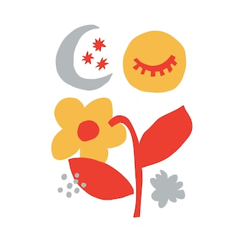 Vector il fiore contemporaneo e l'opera d'arte digitale delle risorse grafiche dell'illustrazione della forma della luna