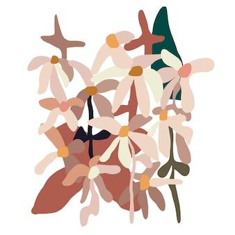 Risorsa grafica dell'illustrazione del fiore dell'estratto di forma moderna contemporanea di vettore
