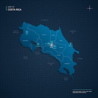Illustrazione di mappa costa rica vettoriale con punti luce al neon blu