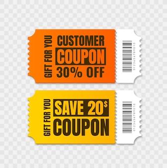 Buono regalo isolato sconto coupon vettoriale per affari set di coupon promozionali