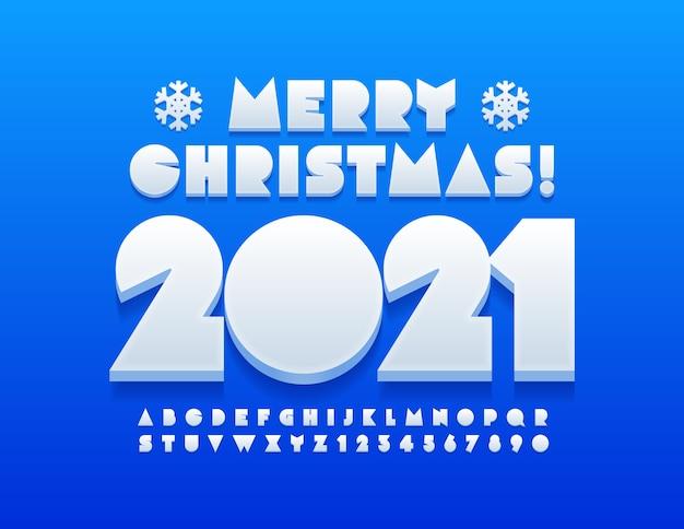 Cartolina d'auguri creativa di vettore buon natale 2021 con i fiocchi di neve. carattere astratto bianco. set di lettere e numeri dell'alfabeto moderno
