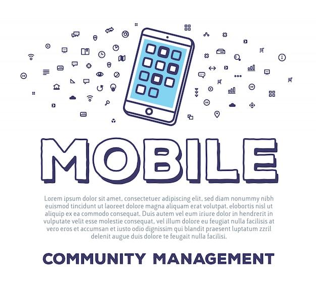 Illustrazione creativa di vettore del telefono con tipografia di parola e nuvola di icone di linea su priorità bassa bianca. tecnologia mobile
