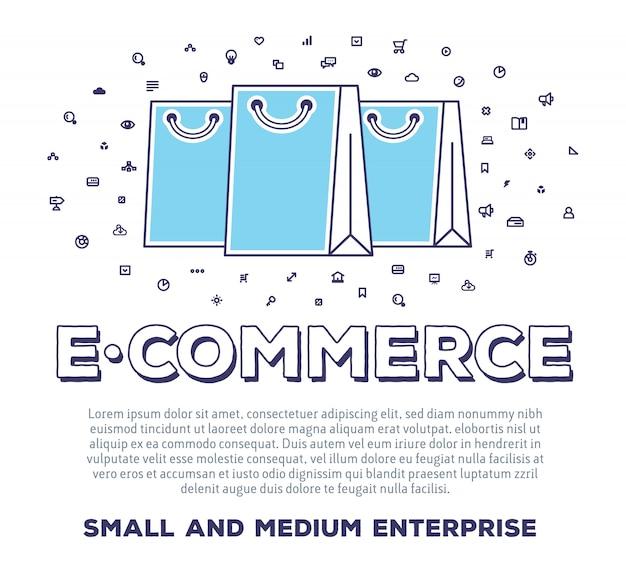 Illustrazione creativa di vettore delle borse della spesa con tipografia di parola e nuvola di icone di linea su priorità bassa bianca. e-commerce