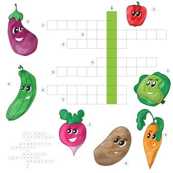 Parole incrociate di vettore, gioco per bambini sulle verdure