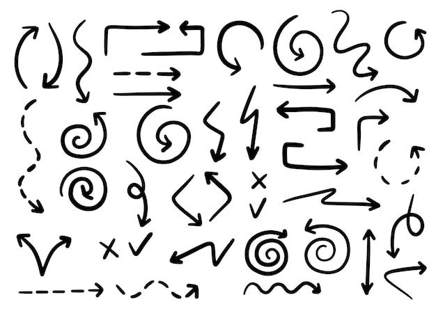 Vettore freccia curva disegnata a mano stile schizzo scarabocchio