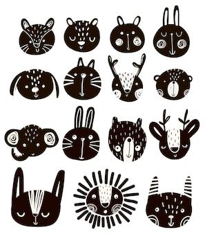 Illustrazione vettoriale carino bambino con musi di animali, stile scandinavo
