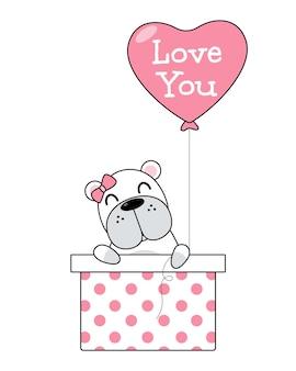 Vettore di simpatico cane in confezione regalo con palloncino cuore. il concetto di san valentino. eps 10 vettoriale