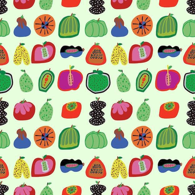 Vettore carino disegnato a mano di frutta e verdura illustrazione senza cuciture motivo ripetuto decorazioni per la casa stampa