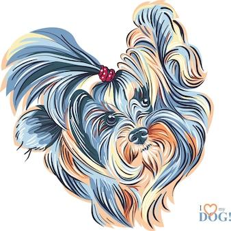 Vector simpatico cane con pedigree yorkshire terrier