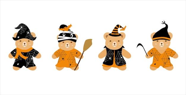 Vector simpatico orsacchiotto che indossa il vestito di halloween clip art bundle in stile cartone animato