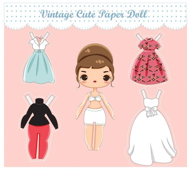 Vettore della bambola di carta vintage carino