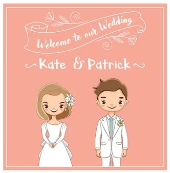 Vettore di sposi carino per carta di inviti