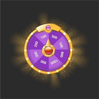 Rotella di rotazione quotidiana di vettore per l'interfaccia utente del gioco. attività spinner premio. premio