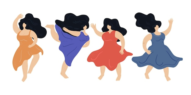 Ragazze danzanti di vettore. corpo positivo. amo il tuo corpo. illustrazione felice dei personaggi dei cartoni animati