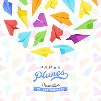 Disegno di decorazione di vettore fatto di aerei di carta