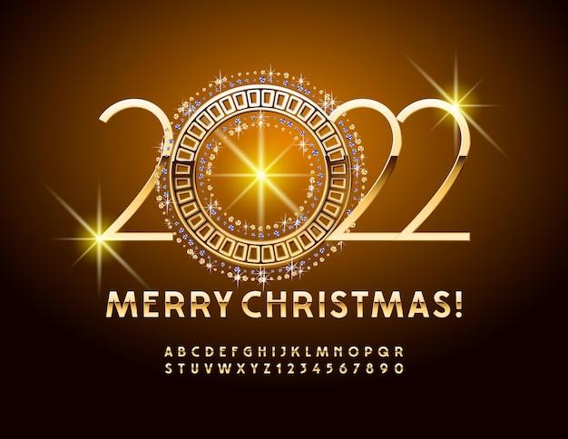 Set di lettere e numeri di vettore decorativo biglietto di auguri buon natale sottile oro alfabeto