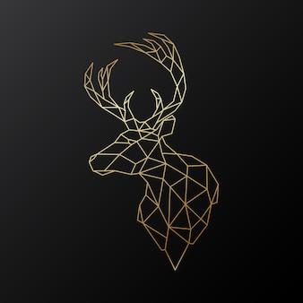 Illustrazione della testa di cervo vettoriale in stile poligonale