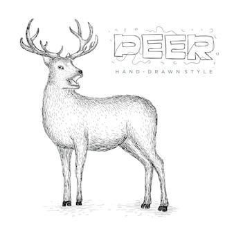 Vettore cervo vista laterale, disegnati a mano illustrazione animale