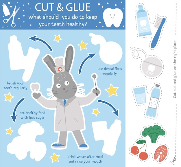 Attività di taglio e colla di cure odontoiatriche vettoriali per bambini. gioco educativo per l'igiene dei denti con un simpatico dentista di conigli e abitudini di denti sani