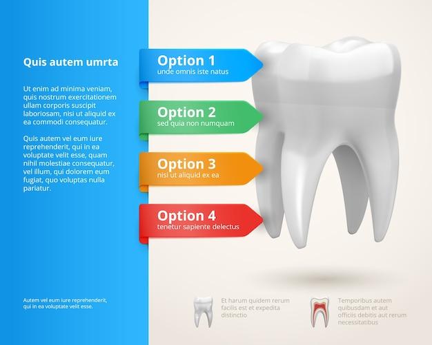Elementi di infographics di odontoiatria vettoriale con nastri e opzioni