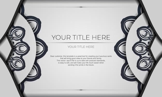 Sfondo di disegno vettoriale con modelli vintage. banner bianco con ornamenti mandala per il tuo logo.