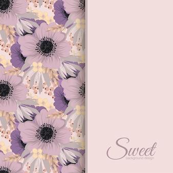Banner design vettoriale con fiori rosa e viola