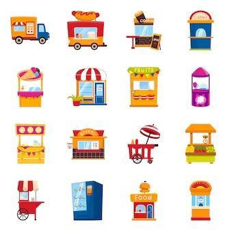 Icona di progettazione e stand vettoriale. raccolta e vendita