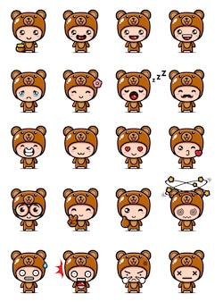 Disegno vettoriale di simpatico orso mascotte set