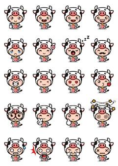 Disegno vettoriale di set mascotte mucca carina