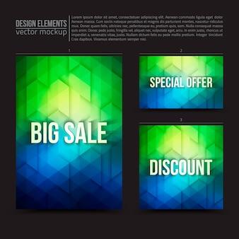 Banner di carta di flyer elementi di disegno vettoriale